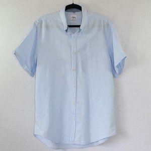 Zara Blue Relaxed Fit Button Down Shirt Size XL